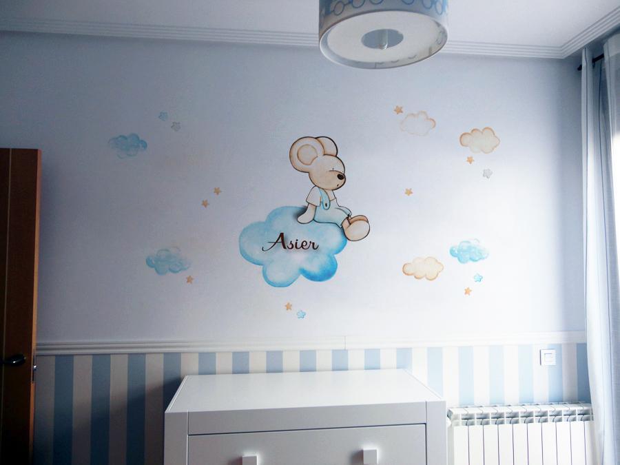 VINILO INFANTIL: Ratoncito sentado en nube