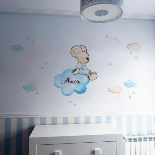 VINILO INFANTIL: Ratoncito sentado en nube [0]