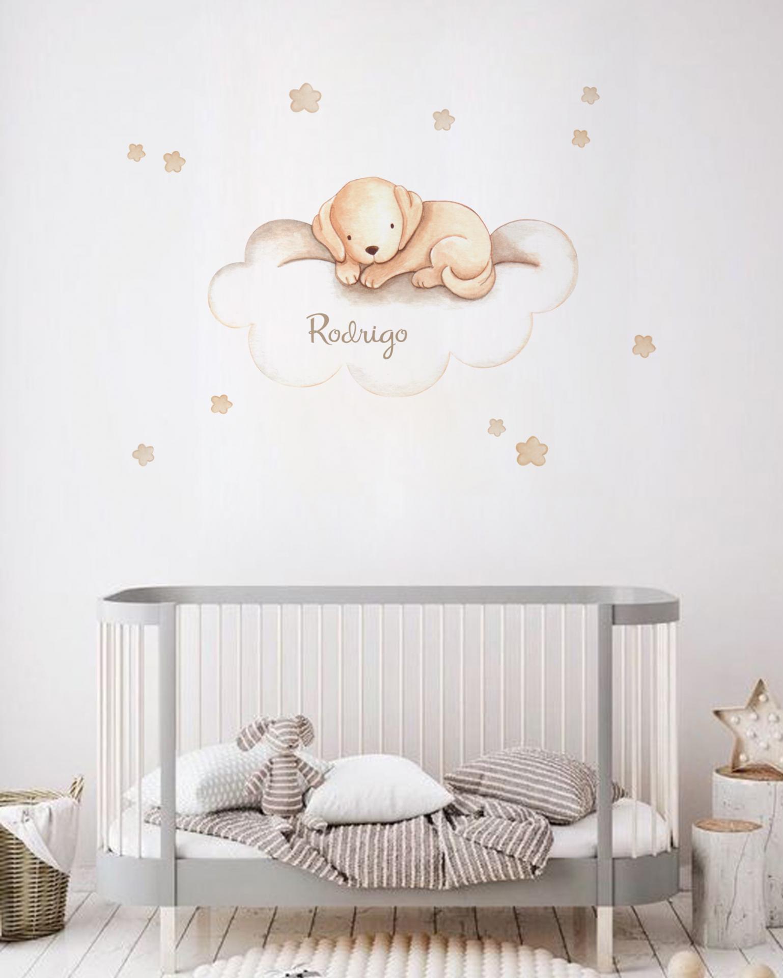 VINILO INFANTIL: Perrito marrón en nube