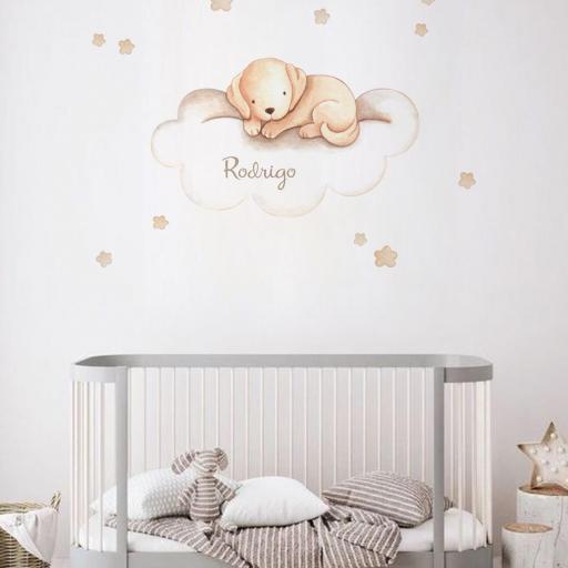 VINILO INFANTIL: Perrito marrón en nube [0]