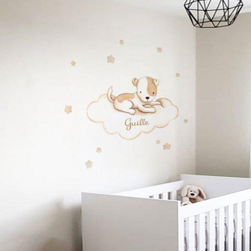 VINILO INFANTIL: Perrito con manchas en nube [1]