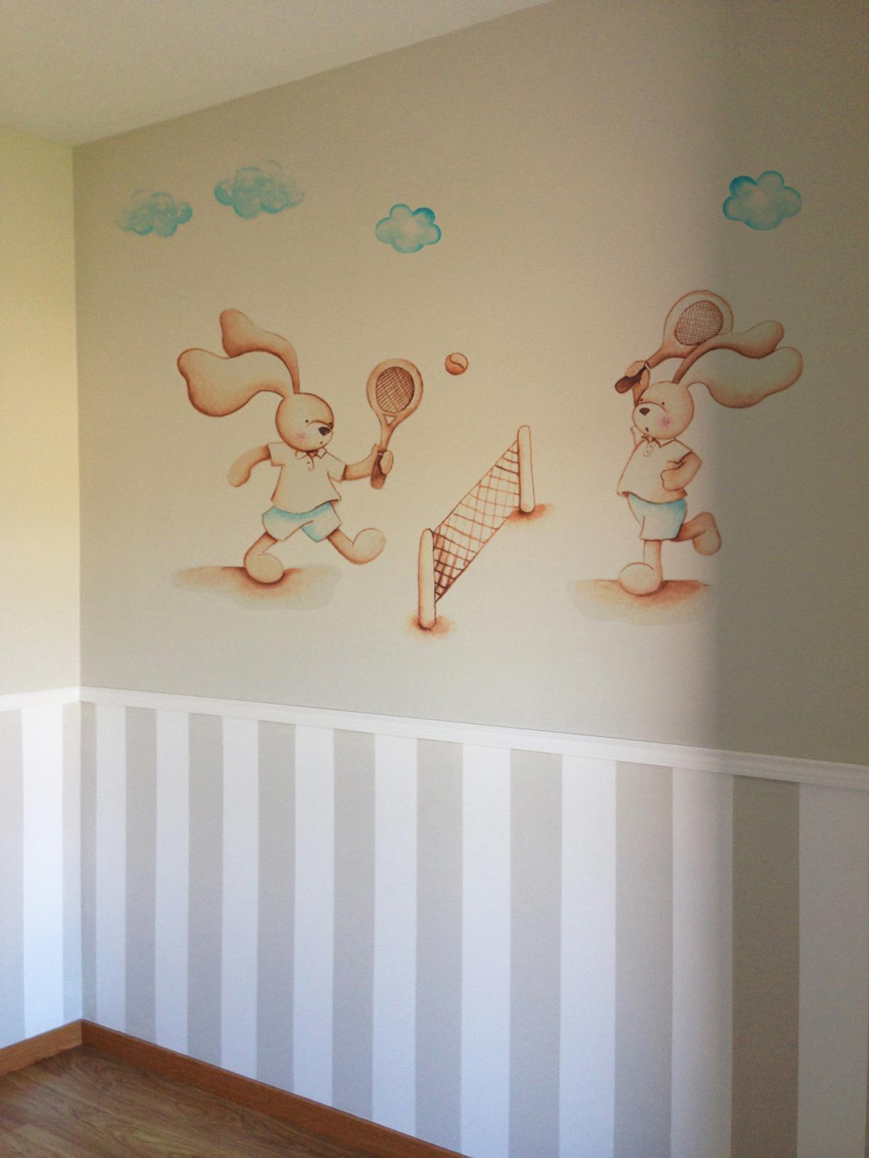 VINILO INFANTIL: Conejitos jugando al tenis