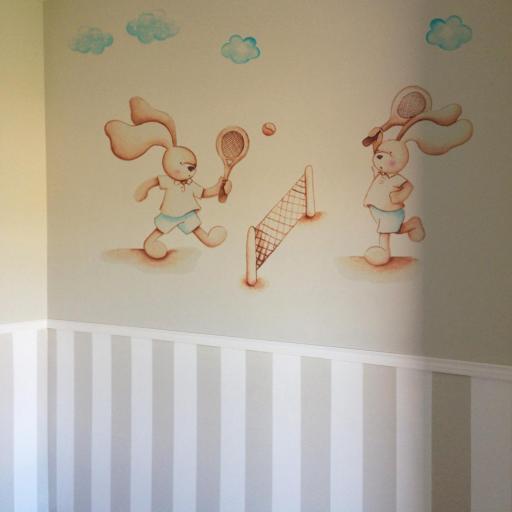 VINILO INFANTIL: Conejitos jugando al tenis [0]