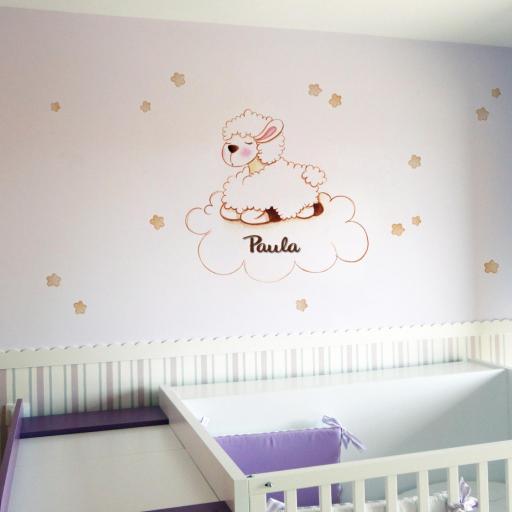 VINILO INFANTIL: Oveja en nube [0]