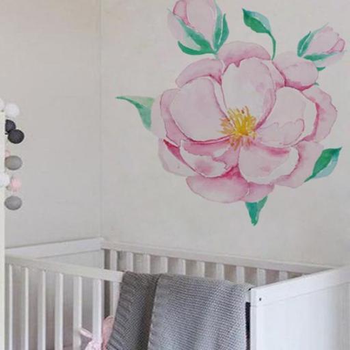 VINILO INFANTIL: Flor rosa grande [1]