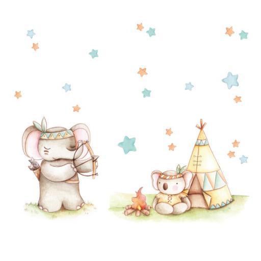 VINILO INFANTIL: Elefante y koala indios [2]