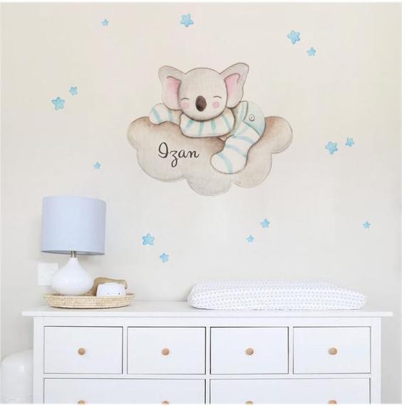 VINILO INFANTIL: Koala dormido en nube