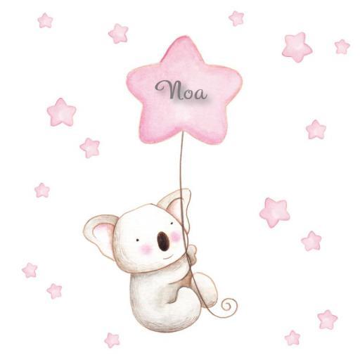 VINILO INFANTIL: Koala con globo rosa [1]