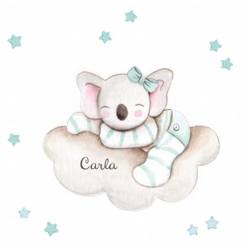 VINILO INFANTIL: Koala en nube con lazo mint [1]