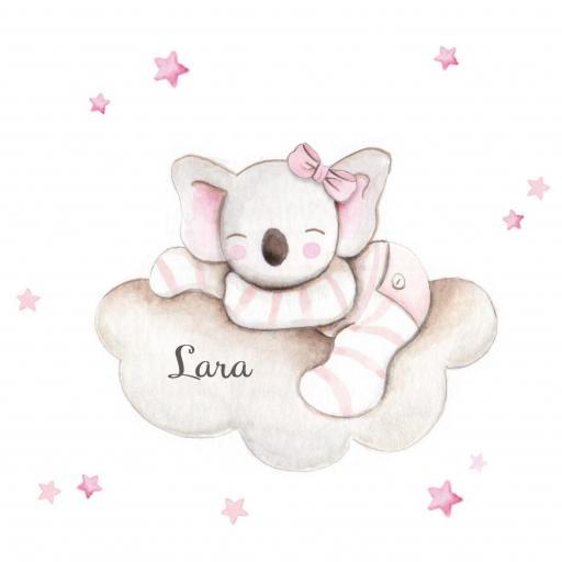 VINILO INFANTIL: Koala en nube con lazo rosa [1]