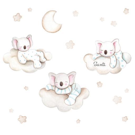 VINILO INFANTIL: Koalas en nubes, luna y estrellas [2]