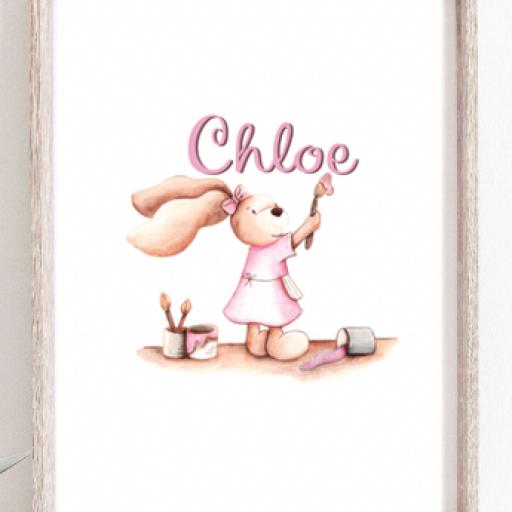 LAMINA INFANTIL personalizada conejita pintando [1]
