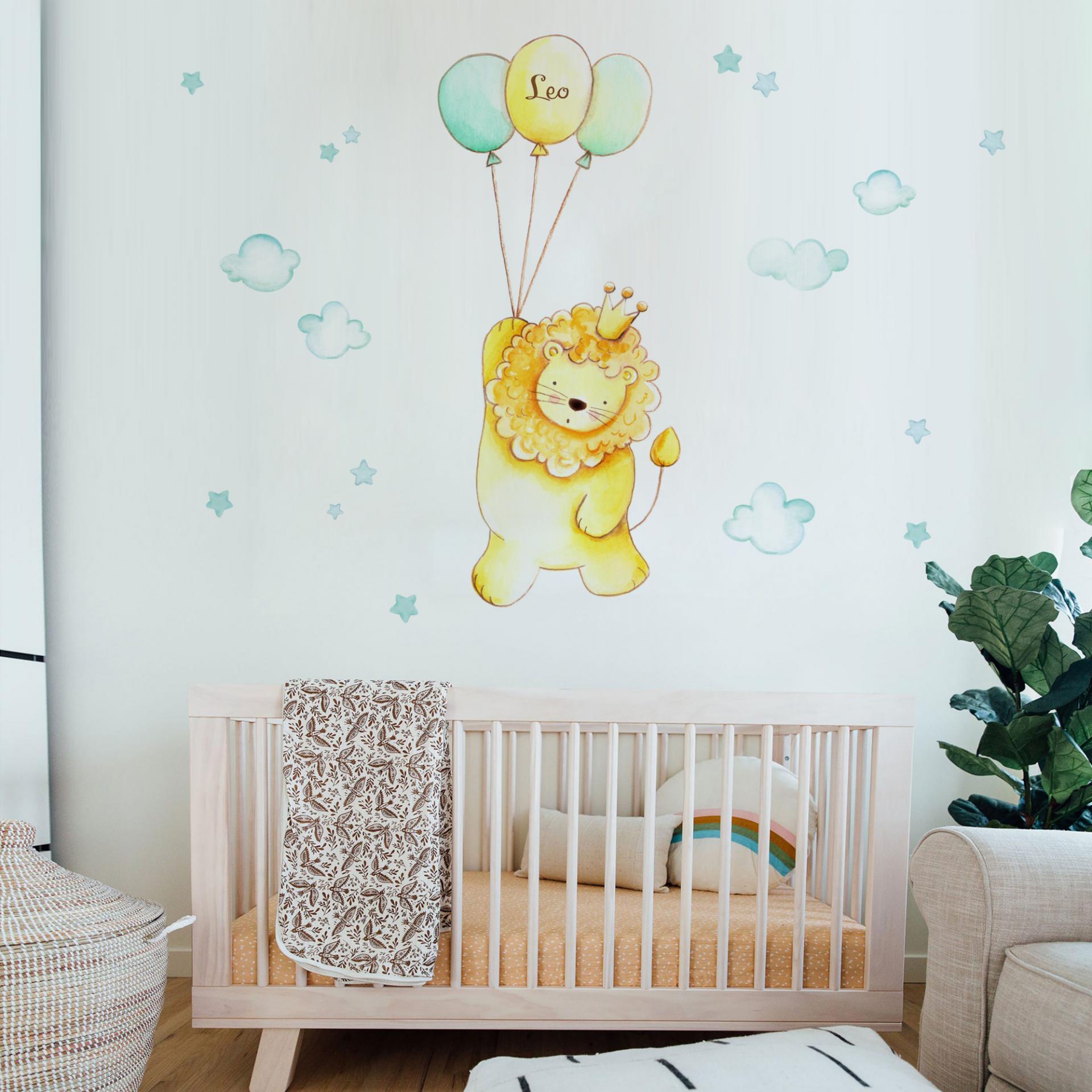VINILO INFANTIL: León con globos mint