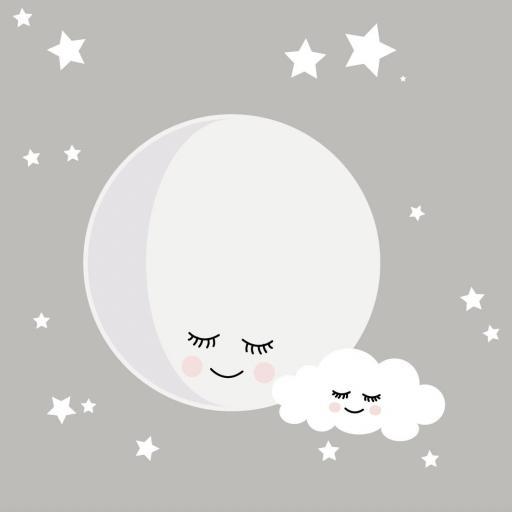 VINILO INFANTIL: Luna con nube y estrellitas [1]
