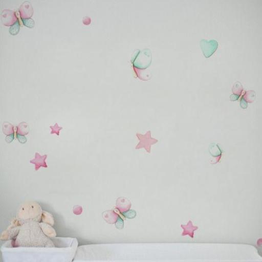 VINILO INFANTIL: mariposas rosa y mint