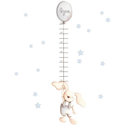 VINILO INFANTIL: Medidor conejito con globo gris [1]