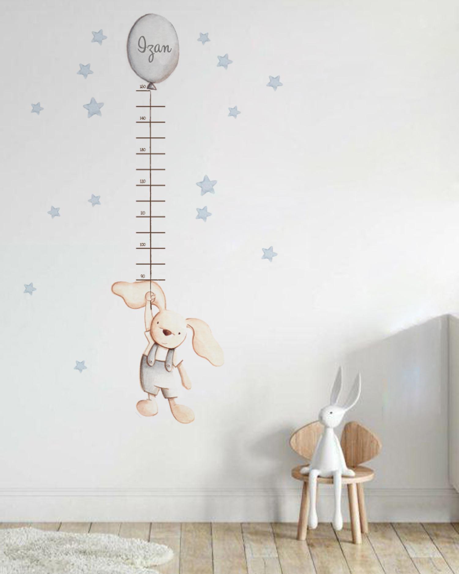 VINILO INFANTIL: Medidor conejito con globo gris