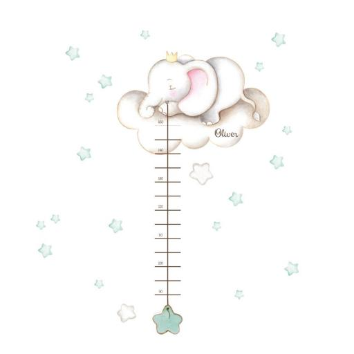 VINILO INFANTIL: Medidor elefante con estrellas mint [1]