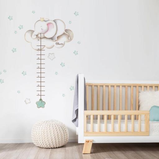 VINILO INFANTIL: Medidor elefante con estrellas mint [0]