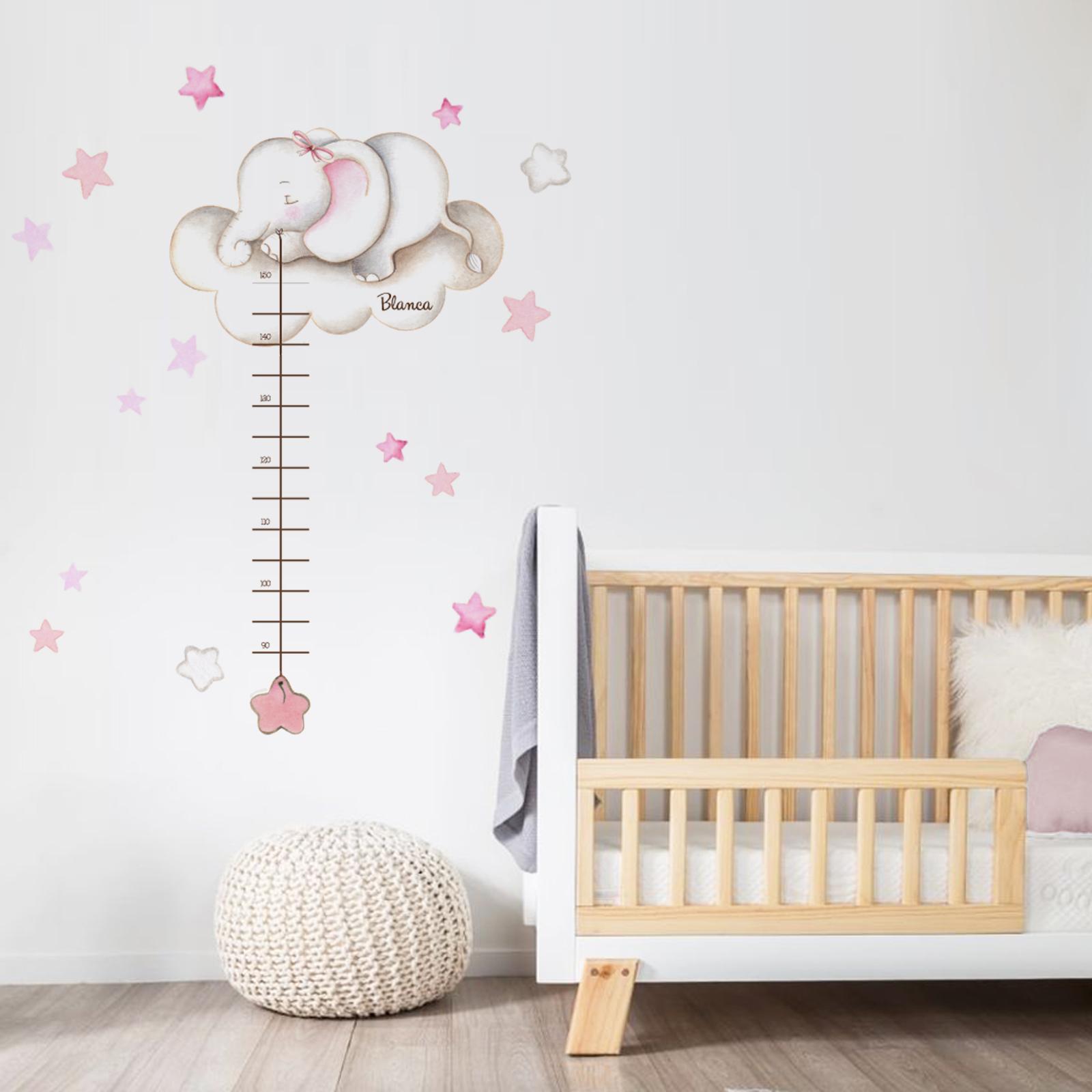 VINILO INFANTIL: Medidor elefante con lazo y estrellas rosas
