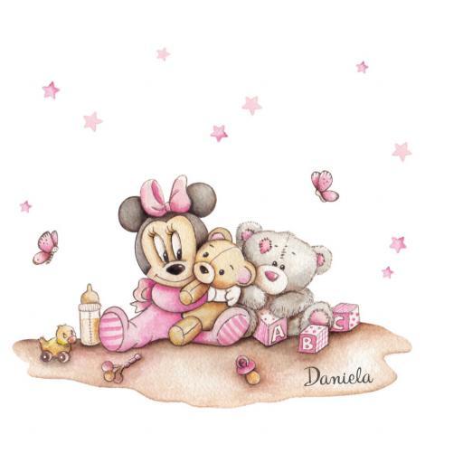 VINILO INFANTIL: Minnie bebé con peluches [1]