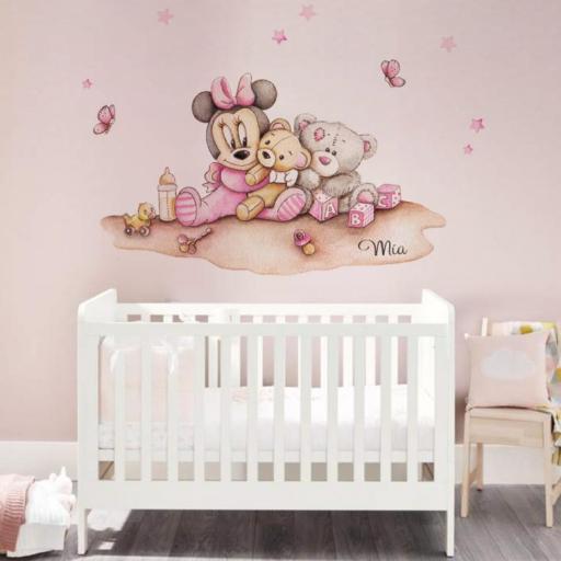 VINILO INFANTIL: Minnie bebé con peluches