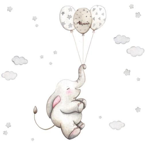 VINILO INFANTIL: Elefante con globos grises [3]