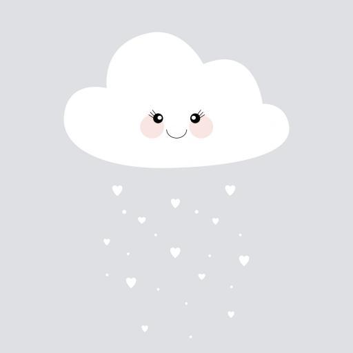 VINILO INFANTIL: Nube con corazones [1]