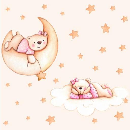 VINILO INFANTIL: Ositas en la luna, nube y estrellas [2]