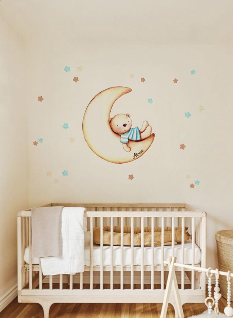 VINILO INFANTIL: Osito en Luna