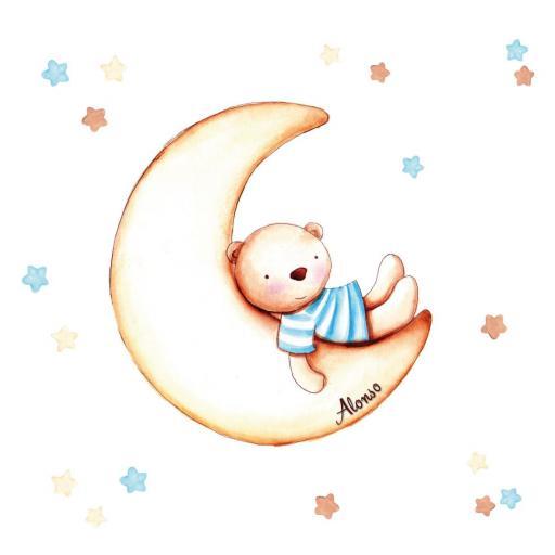 VINILO INFANTIL: Osito en Luna [2]