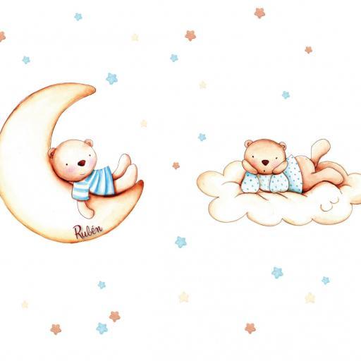 VINILO INFANTIL: Ositos con luna, nube y estrellas [2]