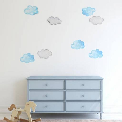 VINILO INFANTIL: Nubes azules y grises