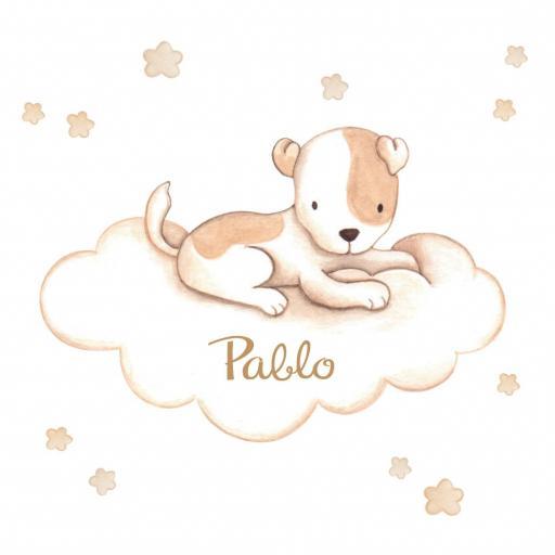 VINILO INFANTIL: Perrito con manchas en nube [2]