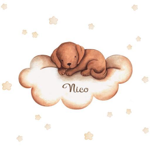 VINILO INFANTIL: Perrito marrón en nube [2]