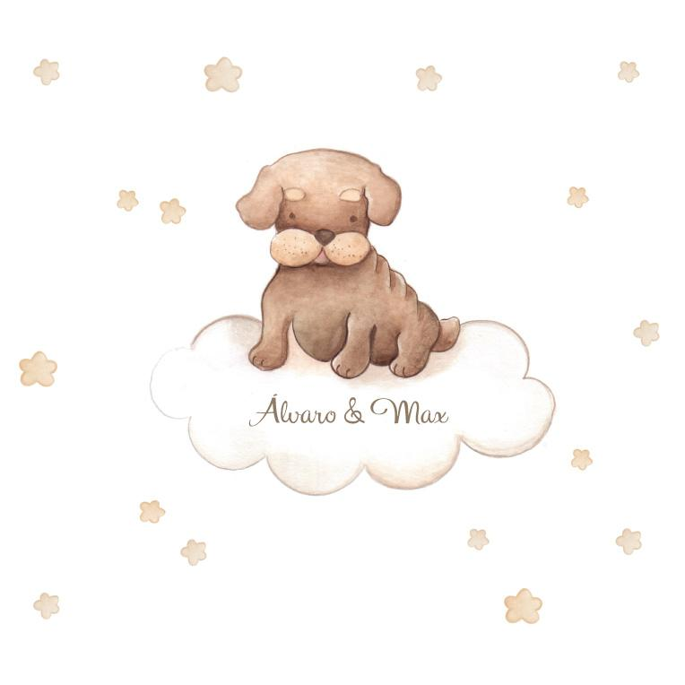 VINILO INFANTIL: Perro marrón en nube