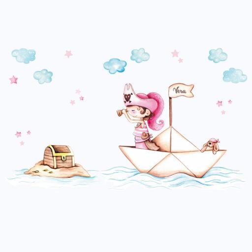 VINILO INFANTIL: Barco pirata niña [2]