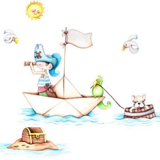 VINILO INFANTIL: Barco pirata y barril con bull dog [1]