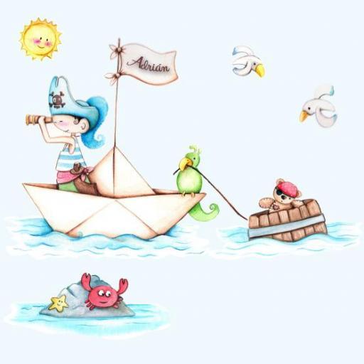 VINILO INFANTIL: Barco pirata y barril con osito [2]