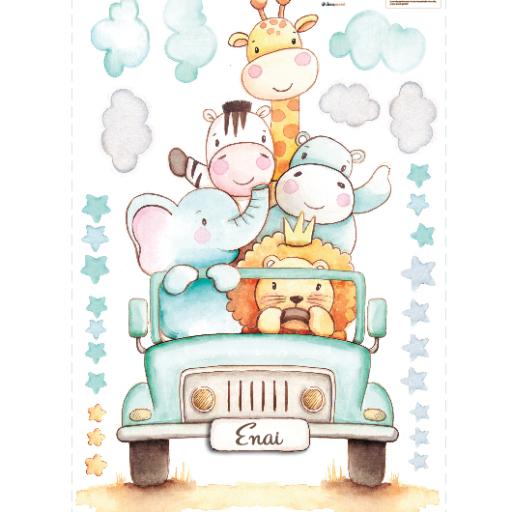 VINILO INFANTIL: Animales en jeep [3]