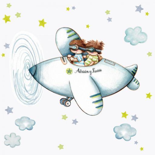 VINILO INFANTIL: Niños en avión y estrellas [1]