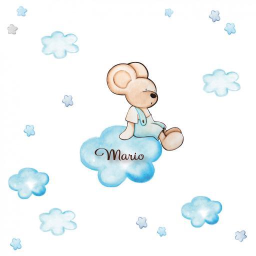 VINILO INFANTIL: Ratoncito sentado en nube [1]