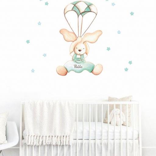 VINILO INFANTIL: Conejo con paracaídas [1]