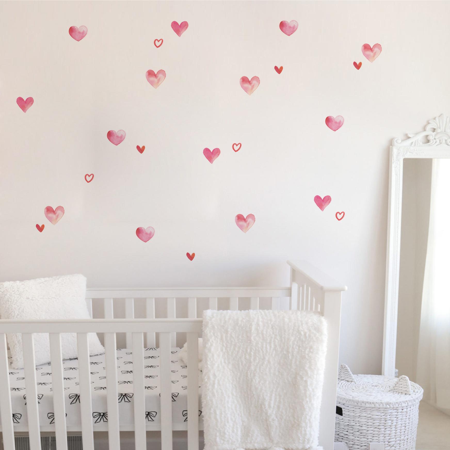 VINILO INFANTIL: corazones de acuarela