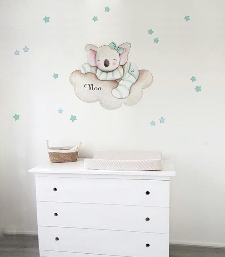 VINILO INFANTIL: Koala en nube con lazo mint