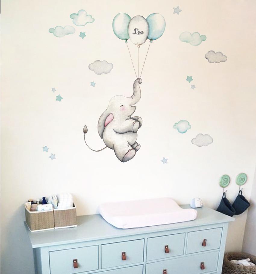 VINILO INFANTIL: Elefante con globos mint