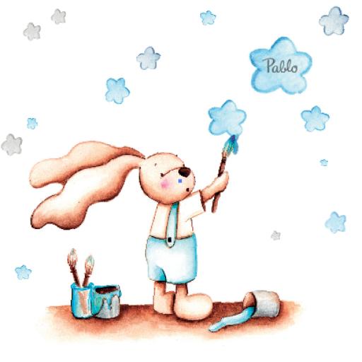 VINILO INFANTIL: Conejito pintando [2]