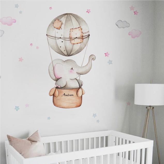 VINILO INFANTIL: Elefante en globo para niña