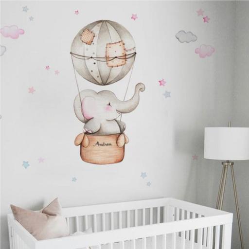 VINILO INFANTIL: Elefante en globo para niña [0]