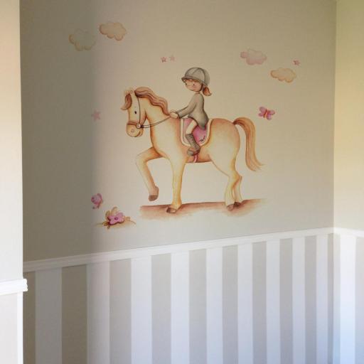 VINILO INFANTIL: Niña en caballo